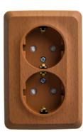 ЭТЮД Розетка угловая двойная открытой установки с заземлением со шт. 16А 250B бук (PA16-108T)