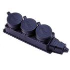 Розетка каучук 3-х местная с защитными крышками, 16A, IP44 (0400-101)