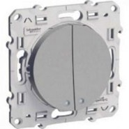 Выключатель двухклавишный с LED подсветкой, Schneider Electric Odace алюминий (S53R211/S53R298/2хS52R291)