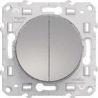 Выключатель двухклавишный, Schneider Electric Odace алюминий (S53R211)