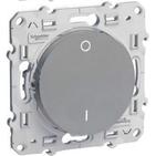 Выключатель одноклавишный двухполюсной 16A, Schneider Electric Odace алюминий (S53R262)