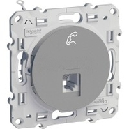 Розетка телефонная RJ12, 6 контактов, Schneider Electric Odace алюминий (S53R497)