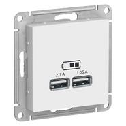 Розетка USB - белый, Schneider Atlas Design