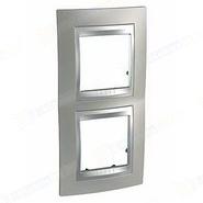 Рамка вертикальная 2 поста никель/алюминий Schneider Electric/Unica Top MGU66.004V.039