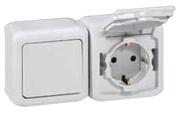 Выключатель 1-но клавишный + Розетка с заземлением - IP44 - белый