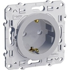 Розетка с заземлением со шторками, алюминий Schneider Electric Odace (S53R037)