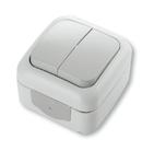 Выключатель двухклавишный, IP54, настенного монтажа, серый VI-KO Palmiye 90555502