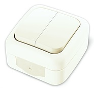 Выключатель двухклавишный, IP54, настенного монтажа, белый VIKO Palmiye 90555402