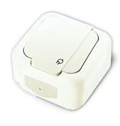 Розетка с заземлением и крышкой, IP54, настенного монтажа, белая VIKO Palmiye 90555408