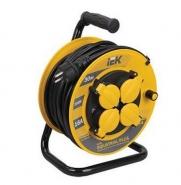 30м 4гн Удлинитель на катушке силовой 4 розетки шнур 30м ПВС 3х1.5мм2 УК30 с термозащитой IP44 IEK (WKP15-16-04-30-44)