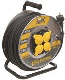 30м 4гн Удлинитель на катушке силовой 4 розетки шнур 30м КГ 3x1.5 УК30 с термозащитой IP44 IEK (WKP16-16-04-30-44)