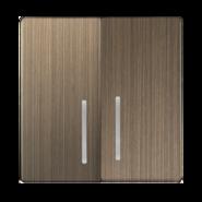 Набор клавиш для выключателя 2 кл, с подсветкой, WL12-SW-2G-LED-CP - бронзовый, Werkel