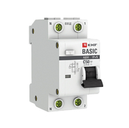 Дифавтомат 2P (1P+N) C63 30мА АС 4,5кА EKF Basic АД-12