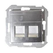 Simon 82 Розетка компьютер+телефон RJ11-RJ45 (алюминий)