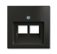 Накладка 2-ой ТЛФ/комп розетки наклонной, черный, ABB Basic 55 (1753-0-0206)
