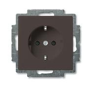 Розетка с заземлением и шторками, безвинтовой зажим, черный, ABB Basic 55 (2013-0-5338)