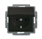 Розетка с заземлением и крышкой, черный, ABB Basic 55 (2018-0-1499)