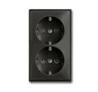 Розетка 2-ая с заземлением и шторками, моноблок, черный, ABB Basic 55 (2021-0-0381)