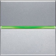 Выключатель одноклавишный с подсветкой ABB Zenit серебро (N2201 PL + N2191 VD)