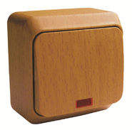 ЭТЮД Выключатель одноклавишный наружный с подсветкой бук сх.1 (BA10-005T)