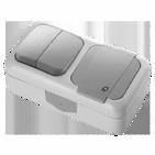 Блок Выключатель одноклавишный с подсветкой + Розетка с заземлением и крышкой, IP54, настенного монтажа, серый VIKO Palmiye 90555599