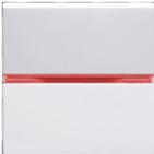 Переключатель проходной, 1 кл, с красной подсветкой - альпийский белый, ABB Zenit (N2202 BL + N2192 RJ)