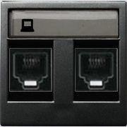 Розетка телефонная двойная 6 контактов ABB Zenit антрацит