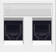 Розетка телефонная двойная 6 контактов ABB Zenit  альпийский белый (2 х 2017.2 +  N2218.2 BL)