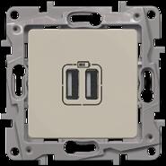 Зарядка USB двойная 240В/5В 2400мA - слоновая кость, Legrand Etika (672394