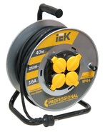 20м 4гн Удлинитель на катушке силовой 4 розетки шнур 20м КГ 3x1.5 УК20 с термозащитой IP44 IEK (WKP16-16-04-20-44)