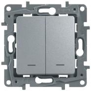 Выключатель двухклавишный с подсветкой алюминий Legrand Etlka 672416