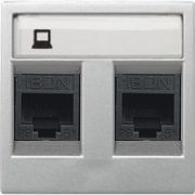 Розетка телефонная двойная 6 контактов ABB Zenit серебро