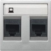Розетка комбинированная: телефонная + компьютерная 5E ABB Zenit серебро