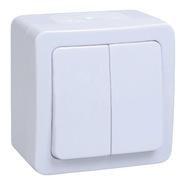 Гермес PLUS Выключатель двухклавишный ВС20-2-0-ГПБ наружный IP54 (EVMP20-K01-10-54-EC)