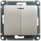 Выключатель 2 кл с подсветкой - перламутр, Schneider Glossa