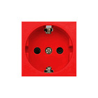 """Розетка с з/к, со шторками (красный) LK45 (для выделения """"чиcтого питания сети"""")"""
