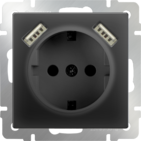 Розетка с заземлением, шторками и USBх2, WL08-SKGS-USBx2-IP20 - черный матовый, Werkel
