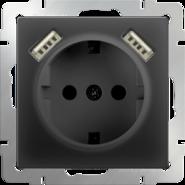 Werkel Розетка с заземлением, шторками и USBх2 (черный матовый)