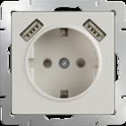 Розетка с заземлением, шторками, USBх2 1800 мА - слоновая кость, Werkel, WL03-SKGS-USBx2-IP20