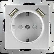 Розетка с заземлением, шторками и USBх2, WL06-SKGS-USBx2-IP20 - серебряный, Werkel