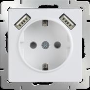 Розетка с заземлением, шторками и USBх2, WL01-SKGS-USBx2-IP20 - белый, Werkel
