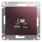USB розетка A+С, 5В/2,4А, 2х5В/1,2 А, механизм - баклажановый, Schneider Glossa