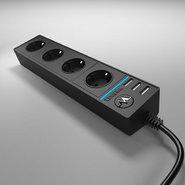 Розеточный блок 4-х местный + 3 USB-поста, WL20-04-03 - черный, Werkel
