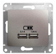 Розетка USB A+A, 5В/2,1 А, 2х5В/1,05 А, механизм - платина, Schneider Glossa