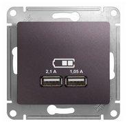 Розетка USB A+A, 5В/2,1 А, 2х5В/1,05 А, механизм - сиреневый туман, Schneider Glossa