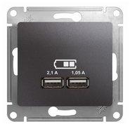 Розетка USB A+A, 5В/2,1 А, 2х5В/1,05 А, механизм - графит, Schneider Glossa