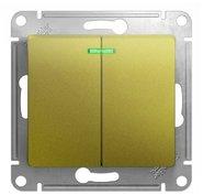 Выключатель 2 кл. с подсветкой, сх.5а, 10AX, механизм - фисташковый, Schneider Glossa