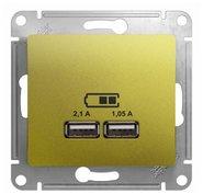 Розетка USB A+A, 5В/2,1 А, 2х5В/1,05 А, механизм - фисташковый, Schneider Glossa