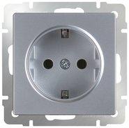 Розетка с заземлением, WL06-SKG-01-IP20 - серебряный, Werkel
