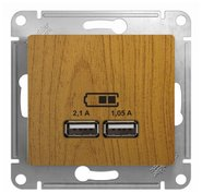 Розетка USB A+A, 5В/2,1 А, 2х5В/1,05 А, механизм - дуб, Schneider Glossa